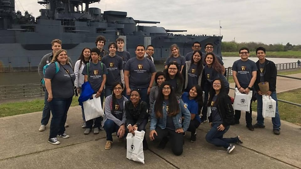 Students in front of the Battleship Texas