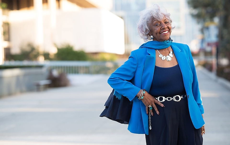 "Frankie Stewart / 83 years old, California State University Dominguez Hills graduate ""Our motto is 'future unlimited.' That means to me, we are looking on the horizon for all the things that can make us a better city and a more wonderful place to live."""