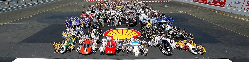 Student teams pose for the big group photograph on the track at Shell Ecomarathon