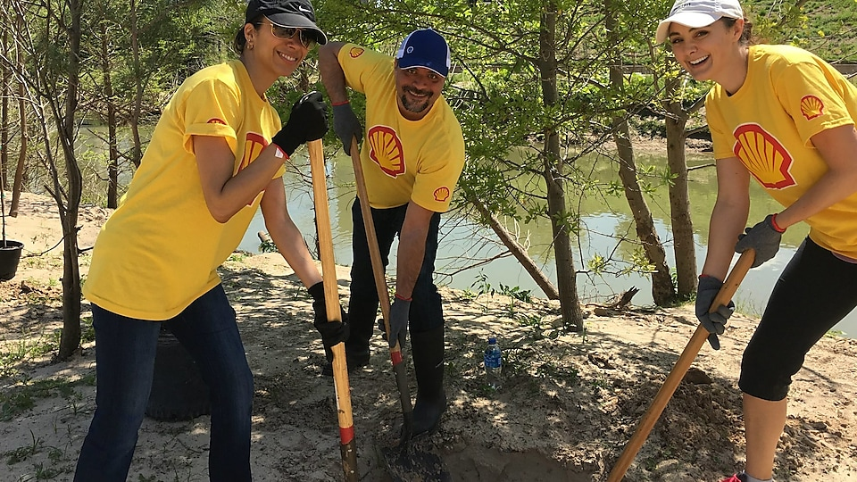 Shell employees plant trees