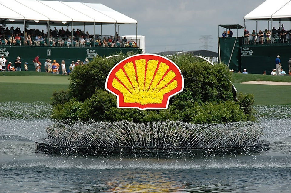 The iconic Shell logo floating adjacent to the 18th green at the Shell Houston Open